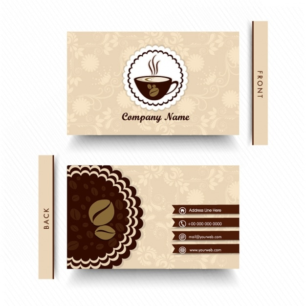 Floral business card for coffee shop Premium Vector