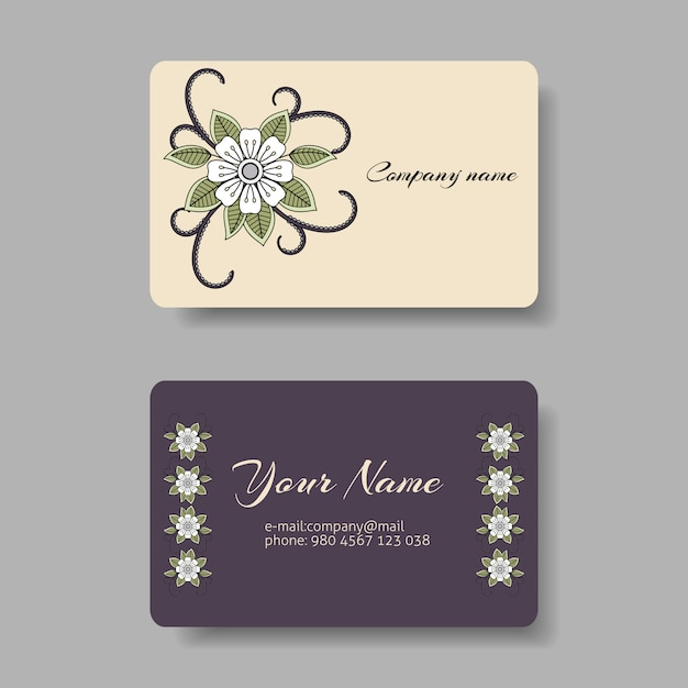 Floral business card collection Premium Vector