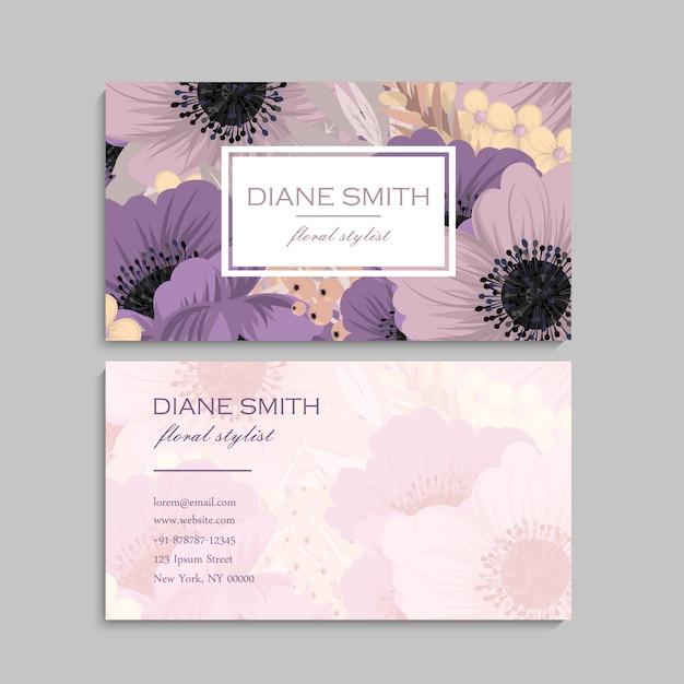 Floral business card design Premium Vector