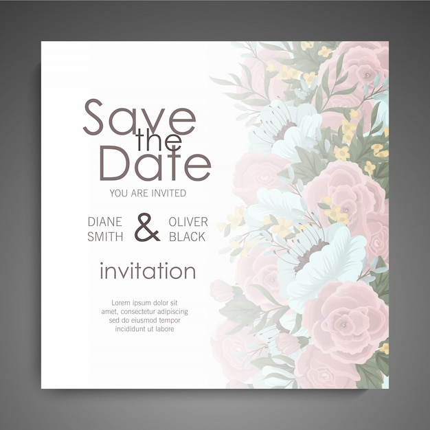 Floral business card template design Free Vector