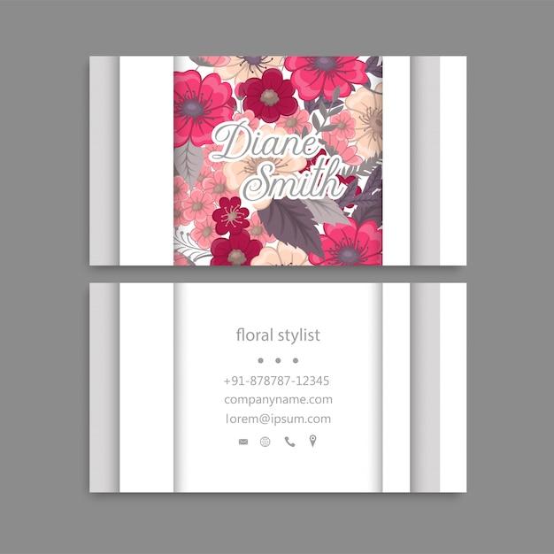 Floral business card template design. Premium Vector