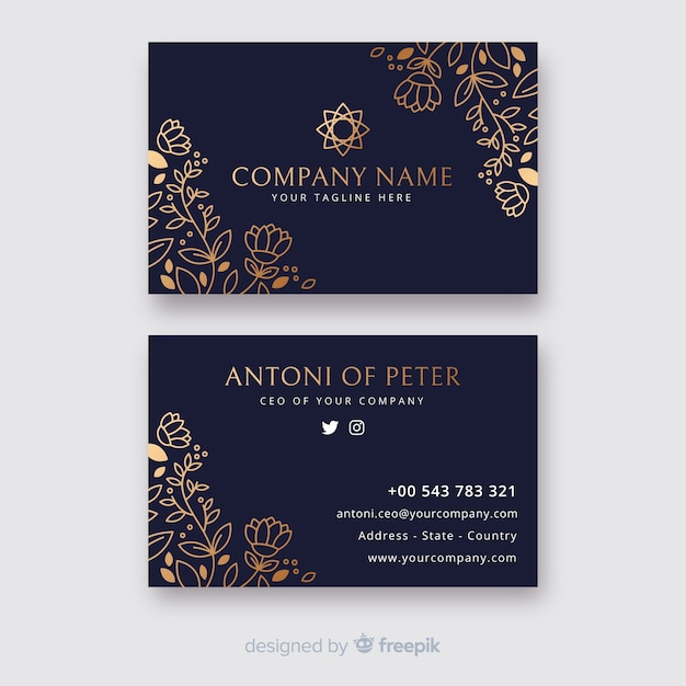 Floral business card template in golden style Free Vector