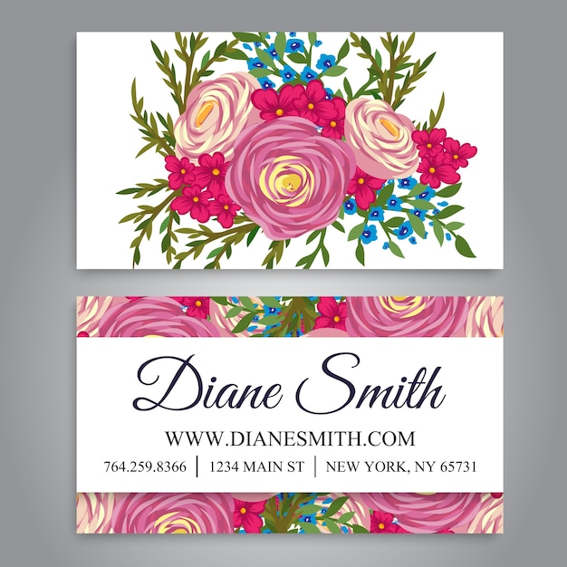 Floral business card template vector vector premium download floral business card template vector premium vector accmission Gallery