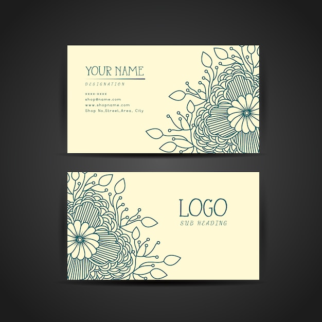 Floral business card template vector free download floral business card template free vector accmission Choice Image