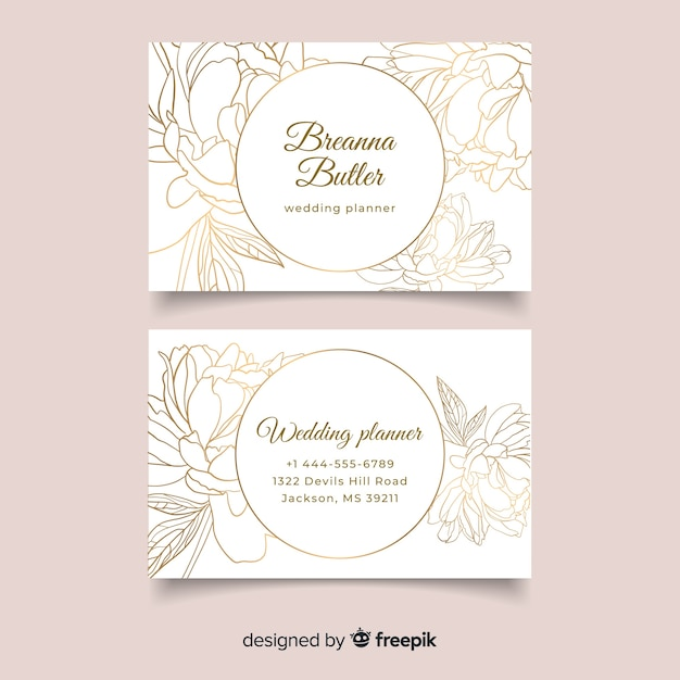 Floral business card template Free Vector
