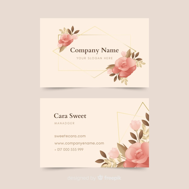 Floral business card with golden lines template Free Vector