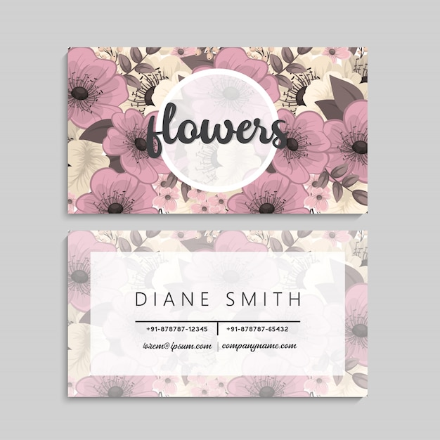 Floral business card Free Vector