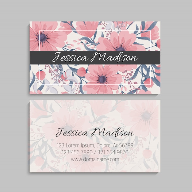Floral business cards pink flowers Free Vector