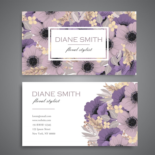 Floral business cards purple flowers Free Vector