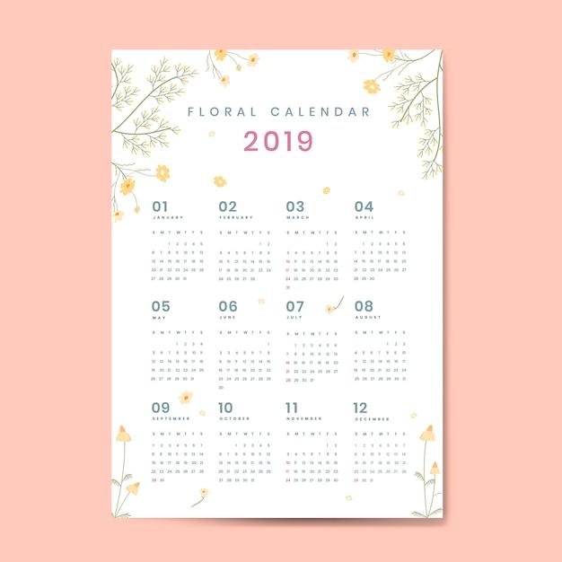 Floral calendar mockup Free Vector