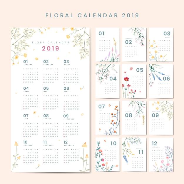 Цветочный календарь макет Бесплатные векторы