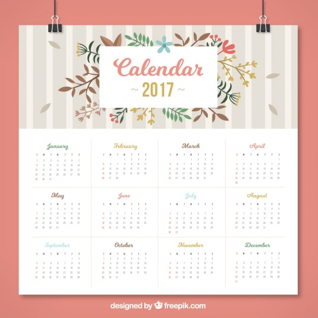 Floral calendar with grey stripes in flat design Free Vector