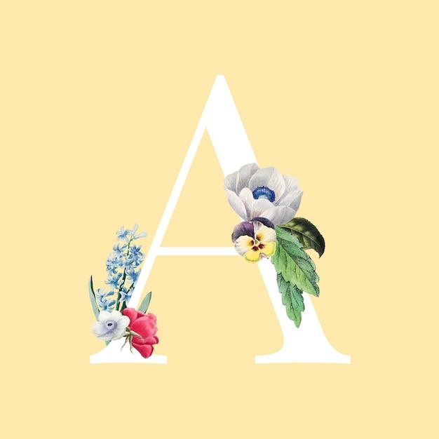 Floral capital letter a alphabet vector Free Vector
