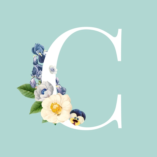 Floral capital letter c alphabet vector Free Vector