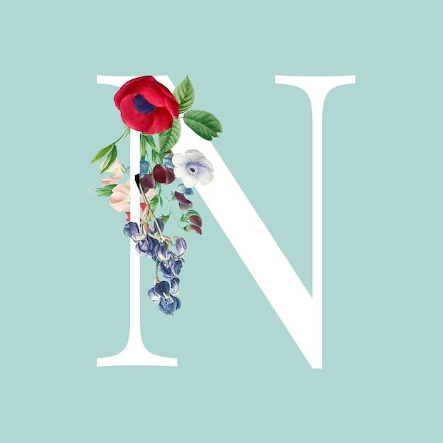 Floral capital letter n alphabet vector Free Vector