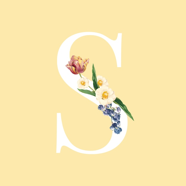 Floral capital letter s alphabet vector Free Vector