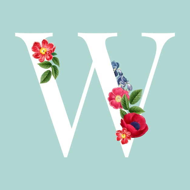 Floral capital letter w alphabet vector Free Vector