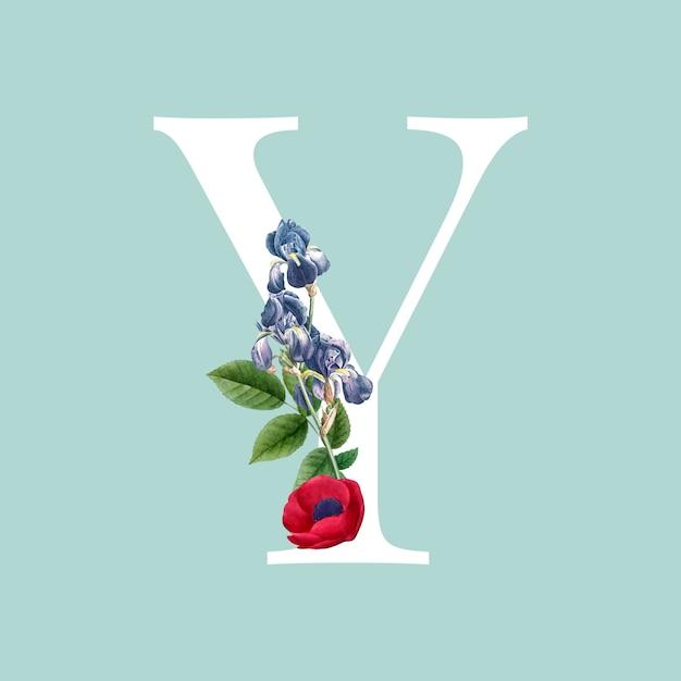 Floral capital letter y alphabet vector Free Vector