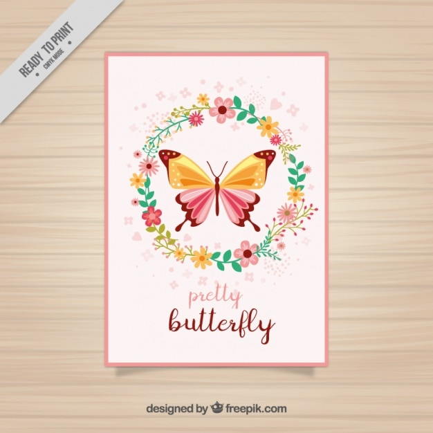 Floral card of butterfly with floral wreath Free Vector