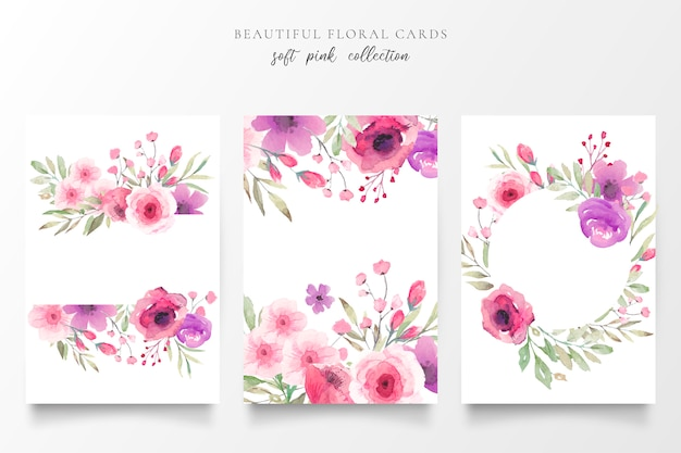 Floral card collection with watercolor flowers Free Vector