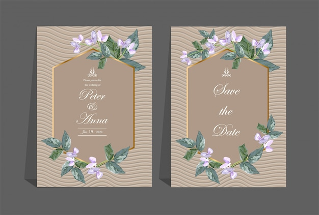 Floral card for invitation wedding and greeting cards Premium Vector