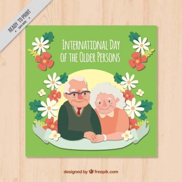 Floral card of international older persons\ day