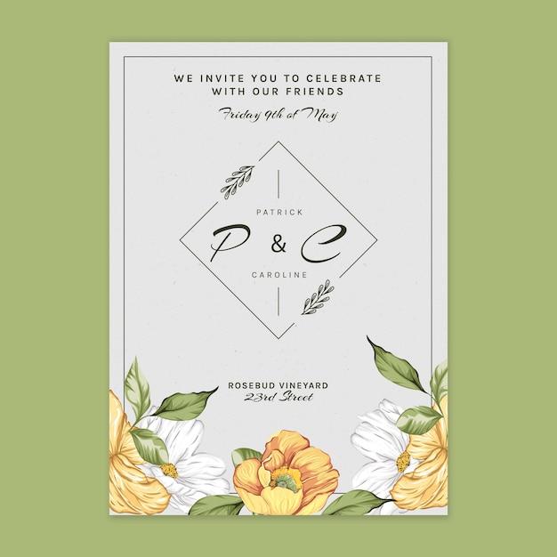 結婚式のための花カードテンプレート Premiumベクター