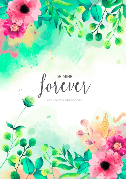 Floral card template with love message Free Vector
