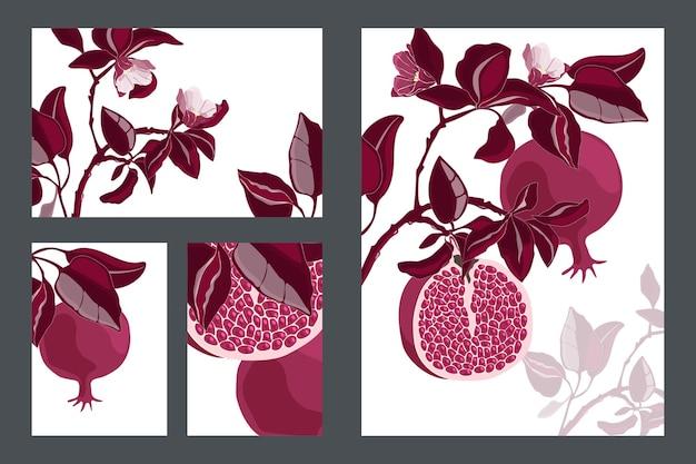 花のカード、テンプレート。あずき色の果物と葉を持つザクロの木。白い背景に分離された穀物と花を持つ熟したザクロ。 Premiumベクター