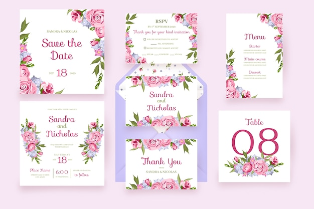 Floral cards with frame flowers wedding stationery in pink Premium Vector