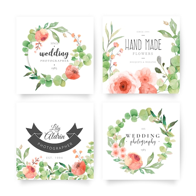 Floral cards with wedding planner logotypes Free Vector