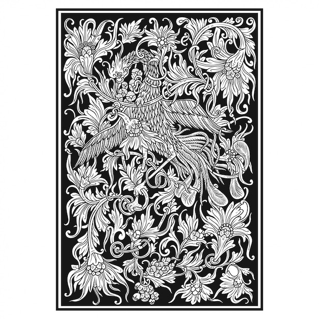 Floral carved Premium Vector