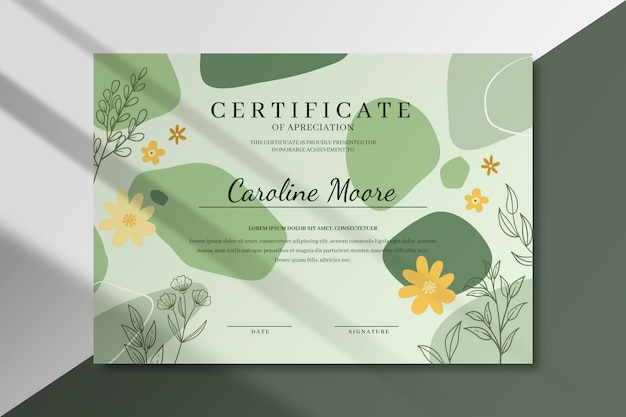Цветочный шаблон сертификата с листьями Premium векторы