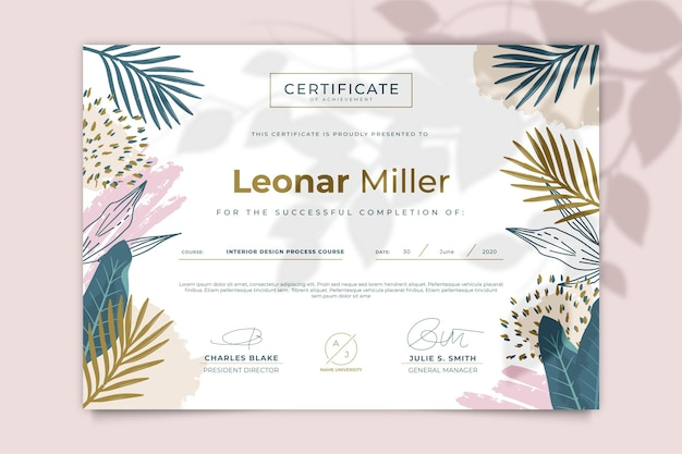 Modello di certificato floreale Vettore gratuito
