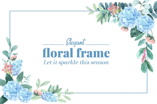 Floral charming frame with hydrangea, peony watercolor illustration. Free Vector