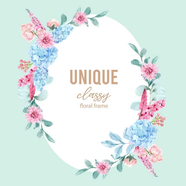 Floral charming wreath with watercolor painting of hydrangea, lupines illustration. Free Vector