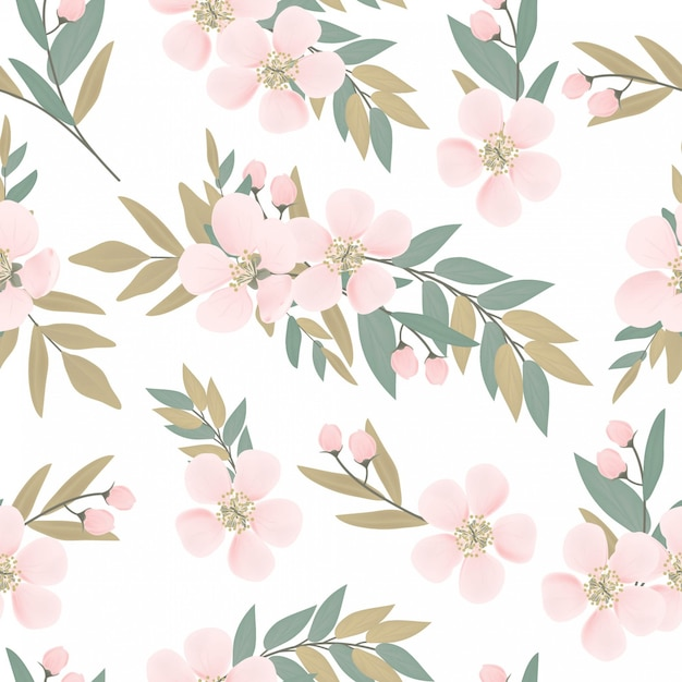 Floral cherry blossom bouquet seamless pattern Premium Vector
