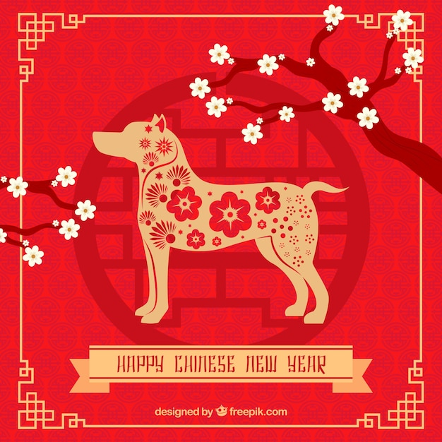 floral chinese new year background with dog free vector