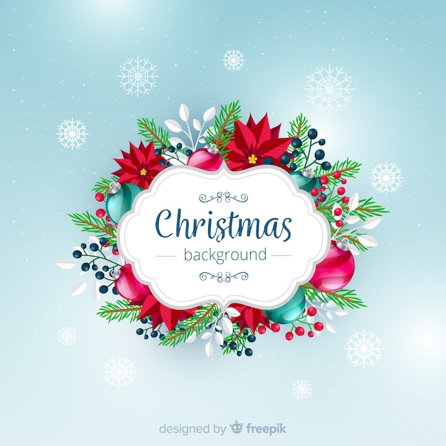 Floral christmas background Free Vector
