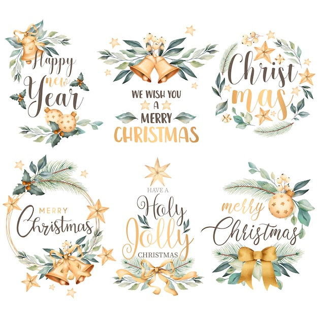 Floral christmas badge collection in watercolor style Free Vector