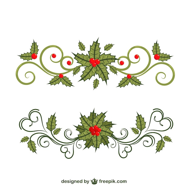 Floral christmas borders vector free download