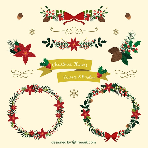 Floral Christmas Elements Vector Free Download