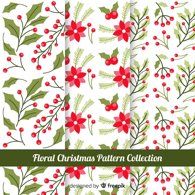 Floral christmas pattern collection Free Vector