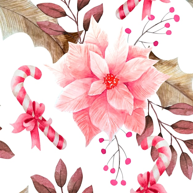 Floral christmas pattern watercolor style Free Vector