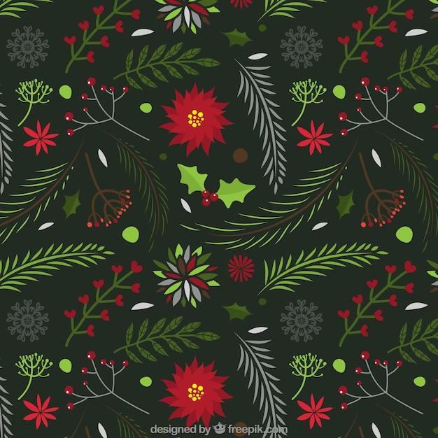 Floral christmas pattern Premium Vector