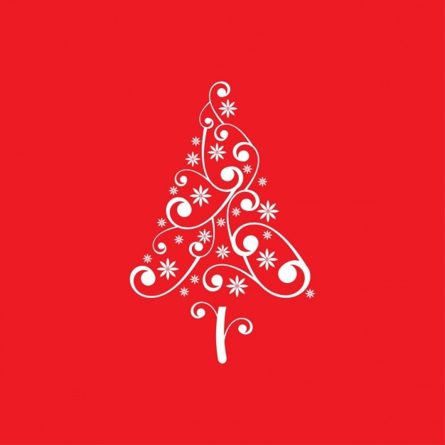 Floral christmas tree background Free Vector