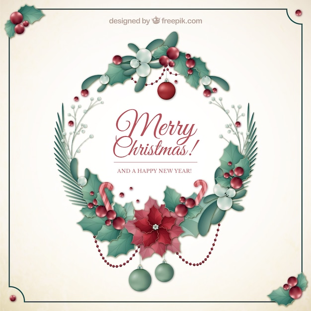 Floral Christmas Wreath Card Vector Free Download