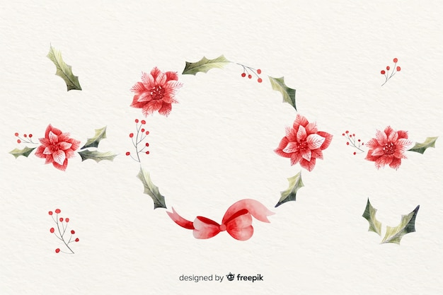 Floral christmas wreath in watercolour design Free Vector