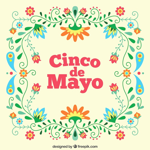 Floral cinco de mayo background Free Vector