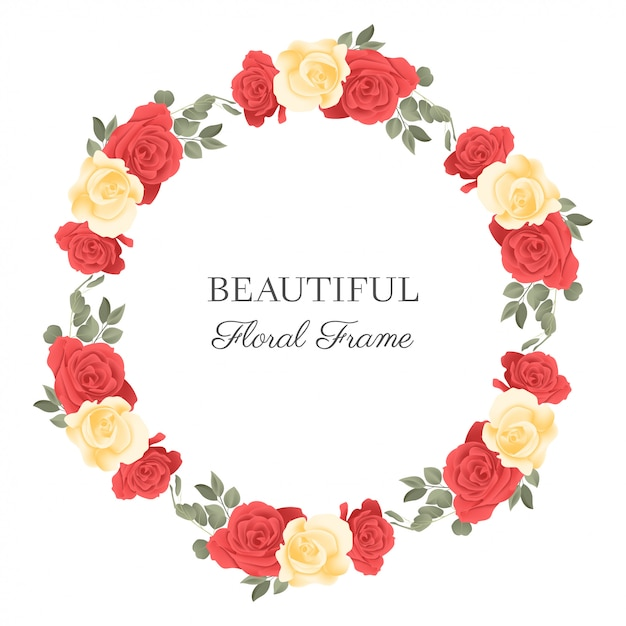 Floral circle frame with rose flower bouquet Premium Vector